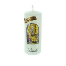Lourdes Apparition round religious candle 10 cm