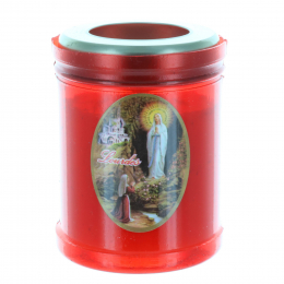 Lourdes Apparition red votive candle 8 cm