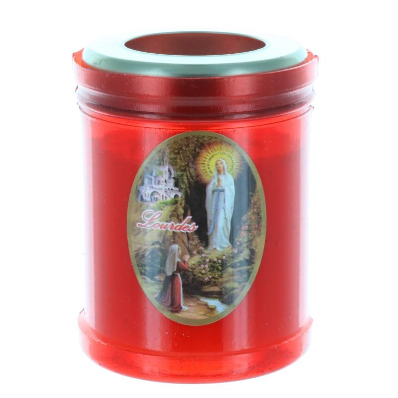 Lourdes Apparition red votive candle 8 cm