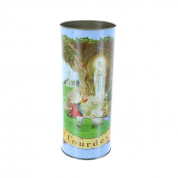 Lourdes Apparition and prayer blue votive candle 14.5 cm