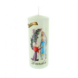 Lourdes Apparition and rose bush round religious candle 15 cm