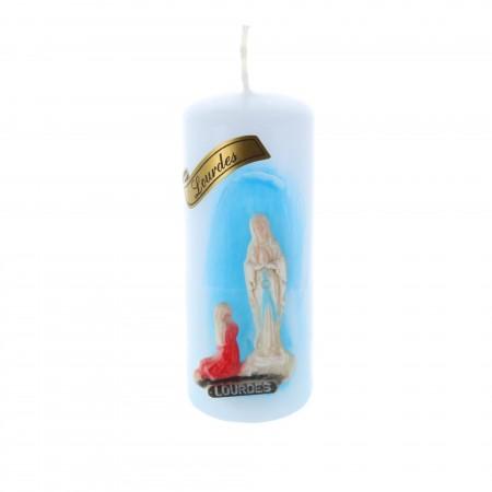 Candela religiosa cilindrica Apparizione di Lourdes incisa 10 cm