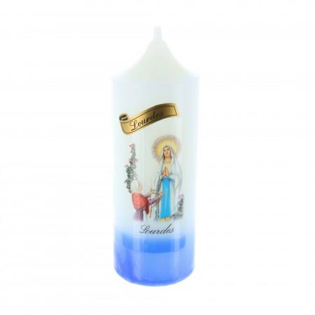 Candela religiosa cilindrica Apparizione di Lourdes base azzurra 14,5 cm
