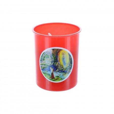 Lumino Votivo rosso Apparizione Nostra Signora di Lourdes 6,5 cm