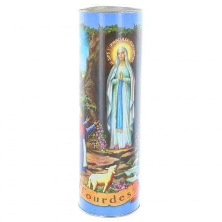 Bougie Votive de Lourdes avec prières multilingues 21 cm