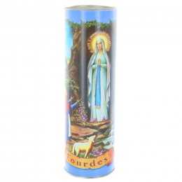 Lourdes blue votive candle and multilingual prayers 21 cm