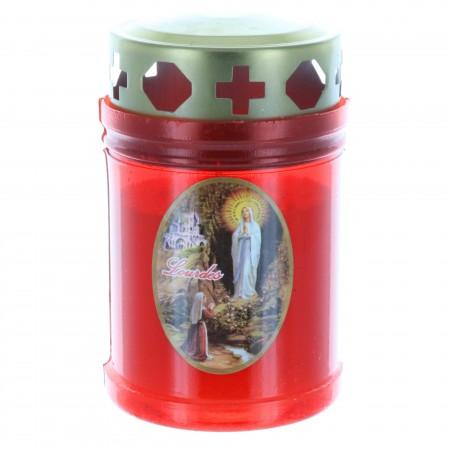 Bougie Votive d'extérieur Apparition de Lourdes 10 cm rouge