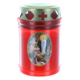 Outdoor red votive candle with a Lourdes Apparition 10 cm