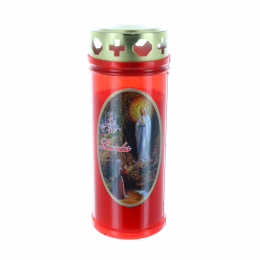 Outdoor red votive candle with a Lourdes Apparition 16.5 cm