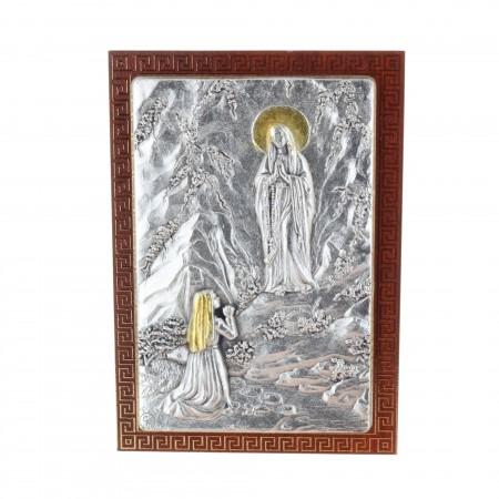 Chevalet religieux Apparition de Lourdes argentée 7 x 10 cm