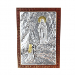 Lourdes Apparition silvery religious picture frame 7 x 10 cm