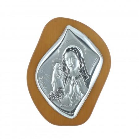Chevalet religieux Vierge Marie et Sainte Bernadette argentées 5 x 6,5 cm
