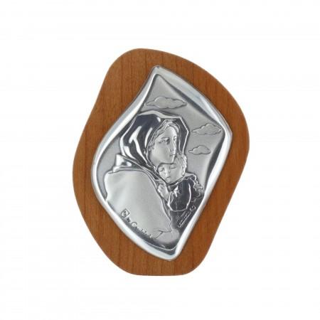 Chevalet religieux La Vierge et Jésus argentés 5 x 6,5 cm