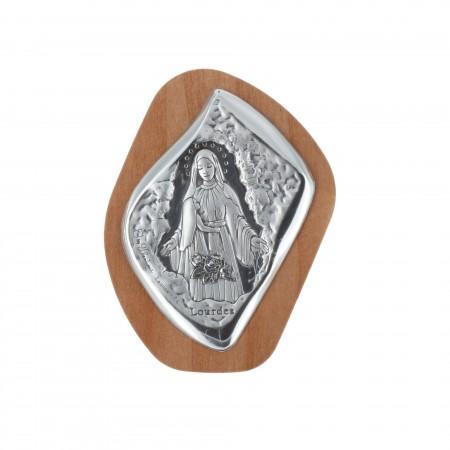 Quadretto religioso Apparizione di Lourdes argentata 5 x 6,5 cm