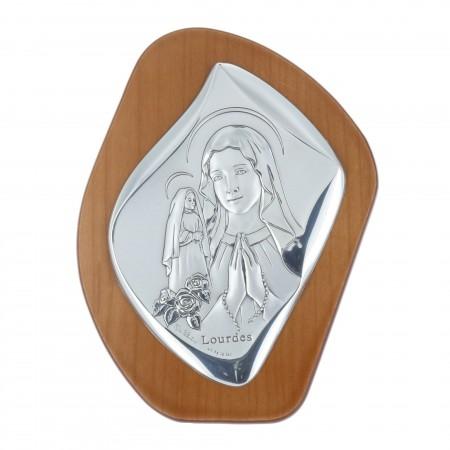 Quadro religioso di legno la Madonna e Santa Bernadette argentate 11 x 14 cm