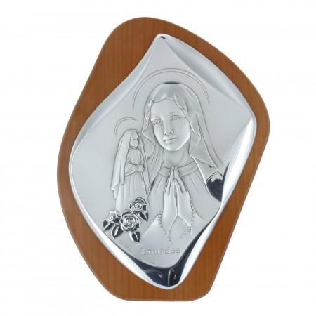 Cadre religieux en bois Vierge Marie et Sainte Bernadette argentées 17,5 x 23,5 cm