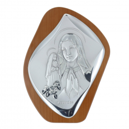 Quadro religioso di legno la Madonna e Santa Bernadette argentate 17,5 x 23,5 cm