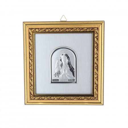 Cadre religieux en bois Apparition de Lourdes argentée 11,4 x 12,2 cm