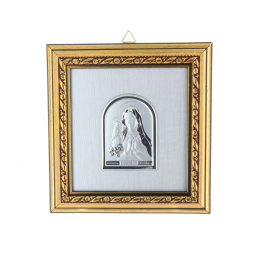 Lourdes Apparition wood and silver coloured religious frame 11.4 x 12.2 cm