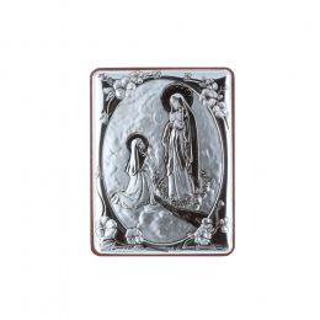 Quadretto religioso di Lourdes argentato 5 x 6,5 cm