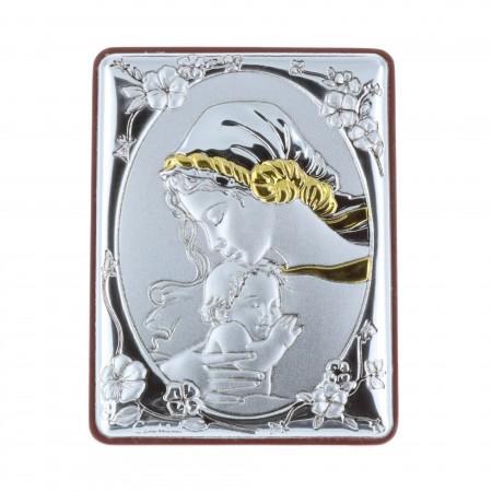 Quadretto religioso la Madonna e Cristo argentati e dorati 5 x 7 cm