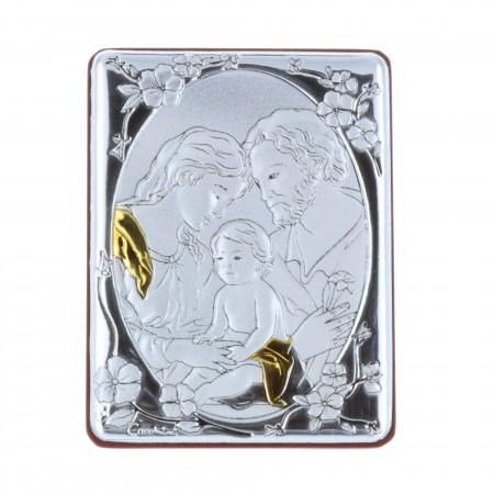 Quadretto religioso la Sacra Famiglia argentata 5 x 7 cm