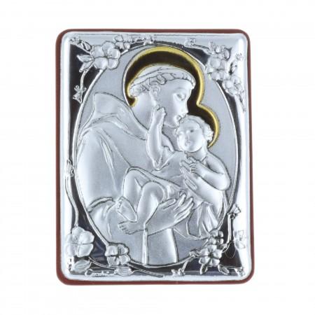 Quadretto religioso Sant'Antonio argentato 5 x 7 cm