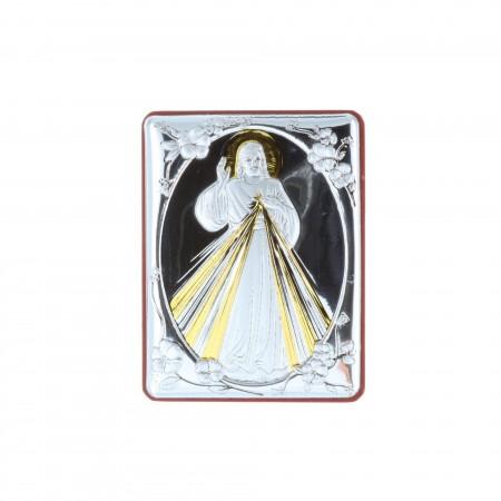Chevalet religieux Jésus Miséricordieux argenté 5 x 6,5 cm