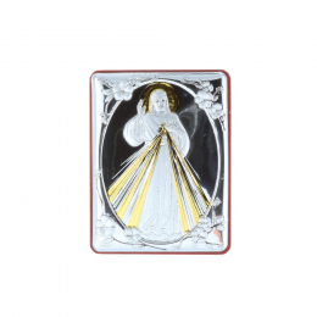 Quadretto religioso Gesù Misericordioso argentato 5 x 6,5 cm
