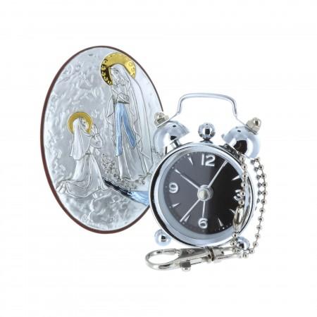 Chevalet religieux Apparition de Lourdes argentée 8 x 15 cm et réveil en boite