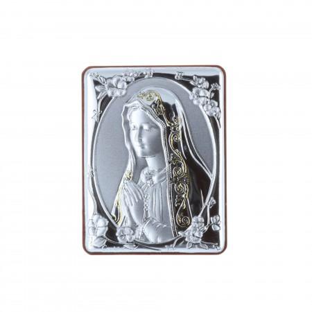Chevalet religieux Vierge de Fatima argentée 5 x 6,5 cm