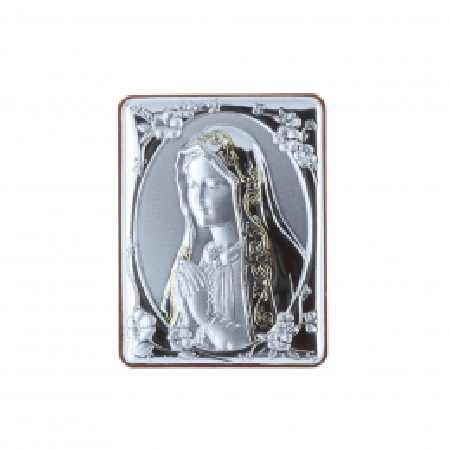 Quadretto religioso Madonna di Fátima argentata 5 x 6,5 cm