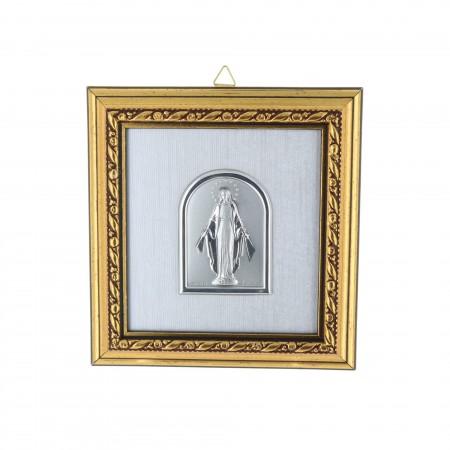 Cadre religieux en bois doré Vierge Miraculeuse argentée 11 x 11 cm