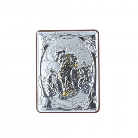 Chevalet religieux Marie qui défait les noeuds argentée 5 x 7 cm