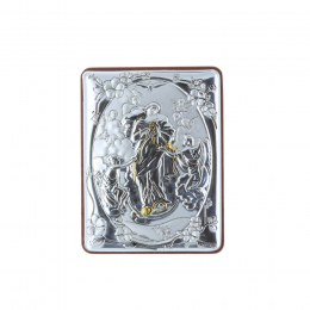 Quadretto religioso Maria che scioglie i nodi argentata 5 x 7 cm
