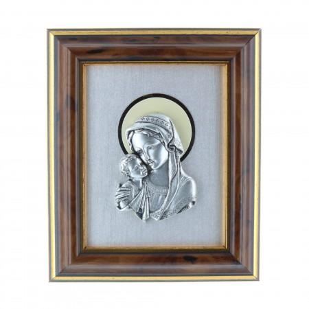 Cadre religieux en bois la Vierge et Jésus argentés 10 x 12,5 cm