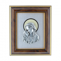 Our Lady and Jesus silvery religious wood frame 10 x 12.5 cm