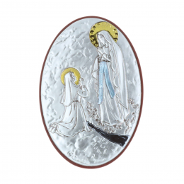 Lourdes Apparition oval silvery religious picture frame 5 x 7 cm