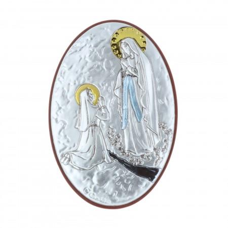 Quadretto religioso ovale Apparizione di Lourdes argentata 5 x 7 cm