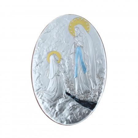 Quadro religioso ovale colorato Apparizione di Lourdes dorata 16,5 x 24 cm
