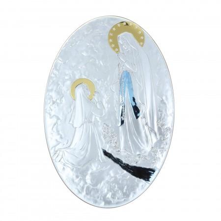 Cadre religieux ovale Apparition de Lourdes dorée coloré 22 x 33 cm
