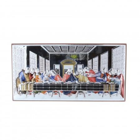 Quadro religioso colorato Ultima Cena argentata 8 x 16 cm