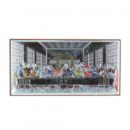Quadretto religioso Ultima Cena argentato colorato 5 x 9 cm