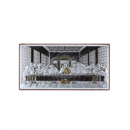 Quadretto religioso Ultima Cena argentato e dorato 5 x 9 cm