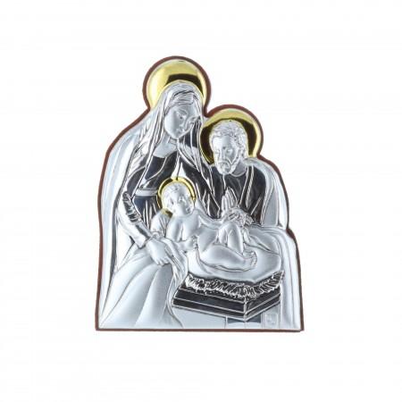 Chevalet religieux Nativité argenté et doré 5 x 7 cm