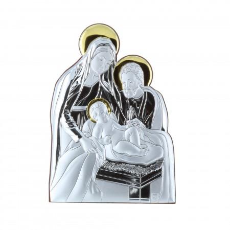 Cadre religieux Nativité argentée 10 x 14 cm