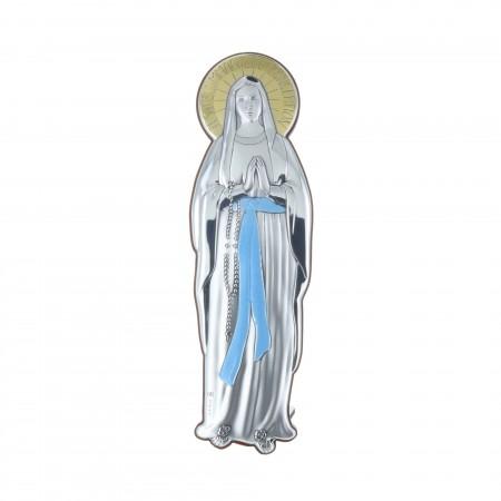 Cadre religieux découpé Immaculée Conception argentée doré 7,5 x 25 cm