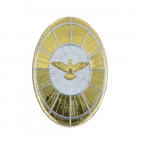 Cadre religieux ovale Saint-Esprit argenté et doré 10 x 15 cm