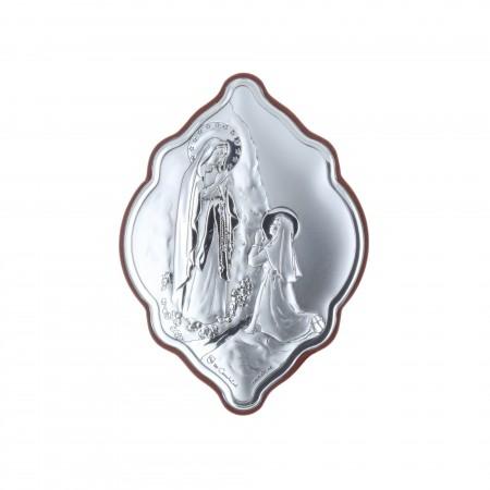 Cadre religieux original Apparition de Lourdes argentée 7 x 10 cm