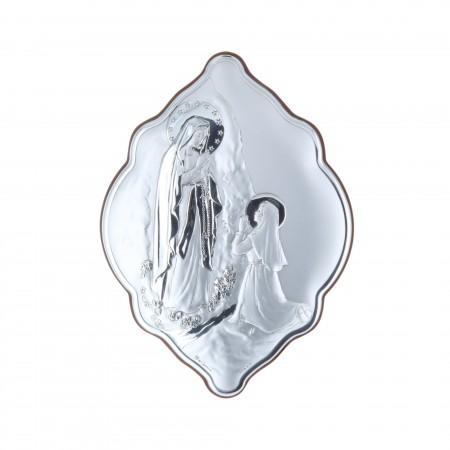Cadre religieux original Apparition de Lourdes argentée 14 x 21 cm